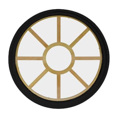 48 in. x 48 in. Round Black 6-9/16 in. Jamb 9-Lite Grille Geometric Aluminum Clad Wood Window