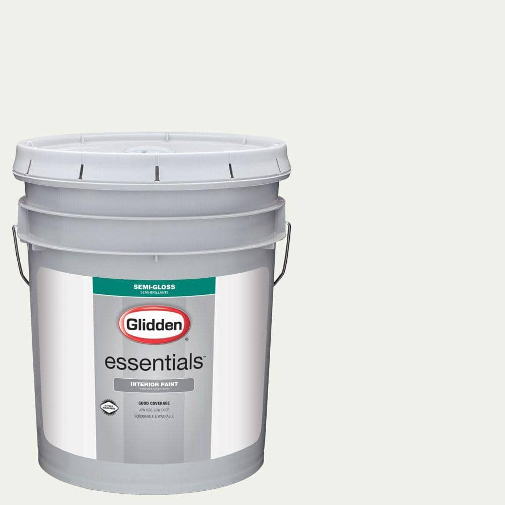 Glidden Essentials 5 Gal Hdgy56 White On White Semi Gloss Interior Paint Hdgy56e 01sd The Home Depot