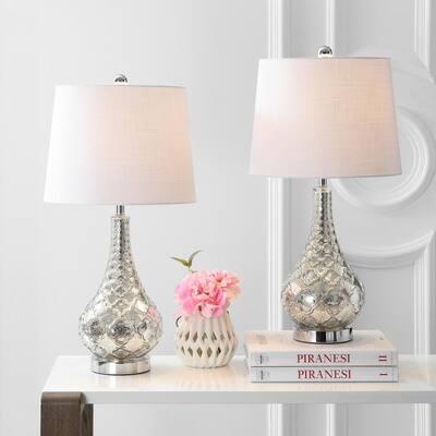 Darren 25.5 in. Mercury Silver Glass Table Lamp (Set of 2)