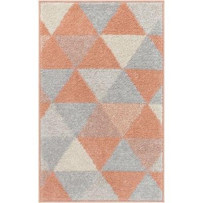 Mystic Alvin Mid-Century Modern Geometric Blush 20 in. x 31. in Accent Door Mat