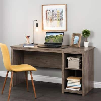 Sonoma 56 in. Rectangular Drifted Gray Computer Desk with Adjustable Shelf