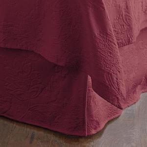 Putnam Matelasse 14 in. Claret Cotton Queen Bed Skirt
