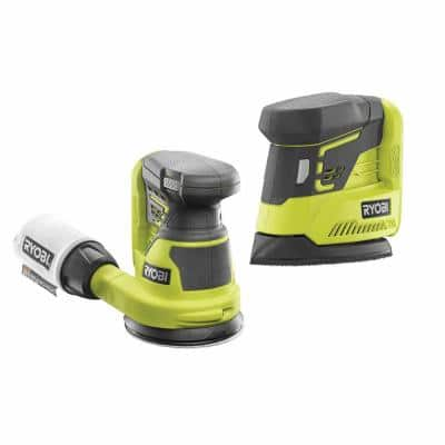 18-Volt ONE+ Lithium-Ion Cordless 5 in. Random Orbit Sander with ONE+ Corner Cat Finish Sander (Tools Only)