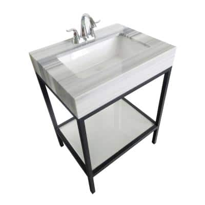 Vaia 25 in. W x 22 in. D x 34.50 in. H Bath Vanity in Black with Marble Vanity Top in White with White Basin