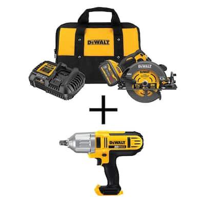FLEXVOLT 60-Volt MAX Cordless Brushless 7-1/4 in. Circular Saw with Brake, (1) FLEXVOLT 9.0Ah Battery & Impact Wrench