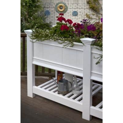Cambridge 24 in. x 68.5 in. x 35.4 in. White Vinyl Planter and Extension kit