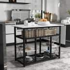 Yeekar White and Black Kitchen Island with Faux Marble Tabletop and Shelves