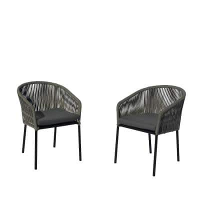 Osborne Aluminum Outdoor Dining Chair with Grey Cushions (2-Pack)