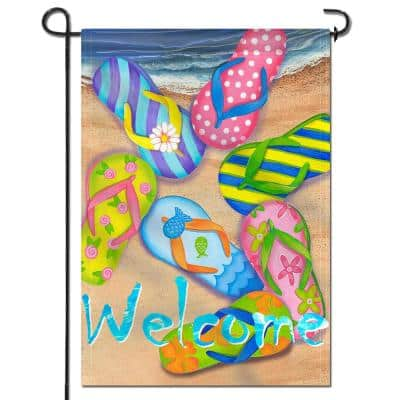 18 in. x 12.5 in. Double Sided Premium Flip Flops on Summer Beach Decorative Garden Flags Double Stitched