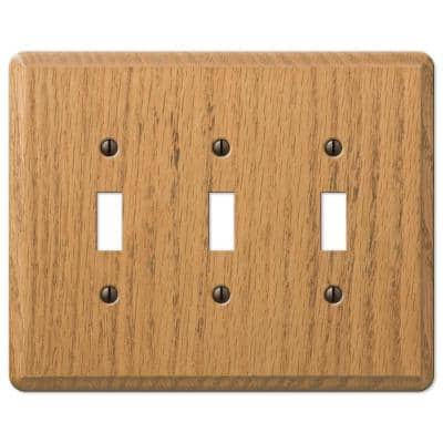 Contemporary 3 Gang Toggle Wood Wall Plate - Light Oak