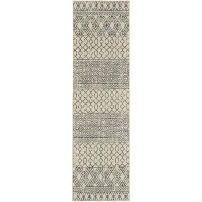 Passion Ivory/Grey 2 ft. x 8 ft. Geometric Modern Runner Rug