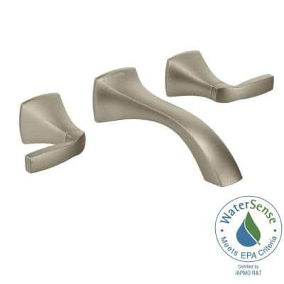 Voss Wall Mount 2-Handle Low-Arc Lavatory Faucet Trim Kit in Brushed Nickel (Valve Not Included)