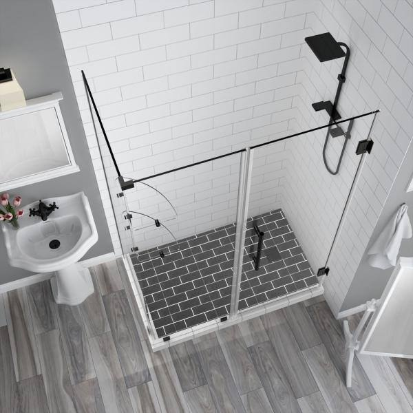 Aston Bromley Gs 60 25 To 61 25 X 34 375 X 72 Frameless Corner Hinged Shower Enclosure With Glass Shelves In Oil Rubbed Bronze Sen962ez Orb 612534 10 The Home Depot
