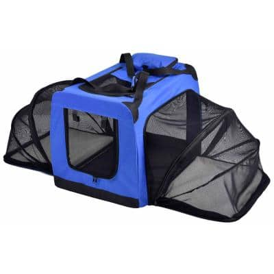 Hounda Accordion Metal Framed Collapsible Expandable Pet Dog Crate - X-Small in Blue