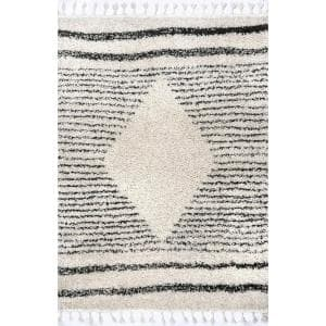 Kiera Diamond Tassel Shag Off White 4 ft. x 6 ft. Area Rug