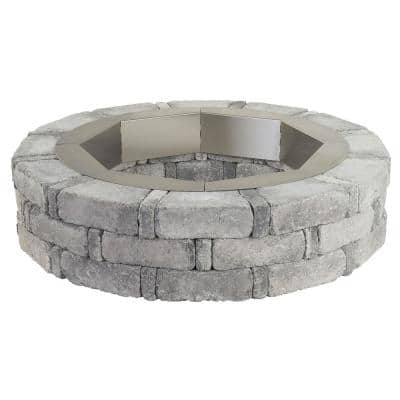 RumbleStone 46 in. x 10.5 in. Round Concrete Fire Pit Kit No. 1 in Greystone with Round Steel Insert