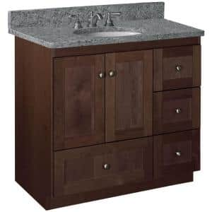 Shaker 36 in. W x 21 in. D x 34.5 in. H Simplicity Vanity with Right Drawers in Dark Alder