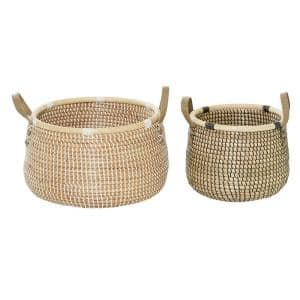 Black And White Natural Woven Round Seagrass Baskets With Handles, Set Of 2: 13in , 18in