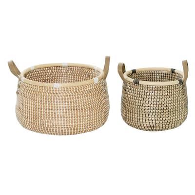 Brown Wood Contemporary Storage Basket (Set of 2)