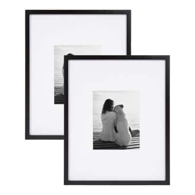 Gallery 16x20 matted to 8x10 Black Picture Frame Set of 2