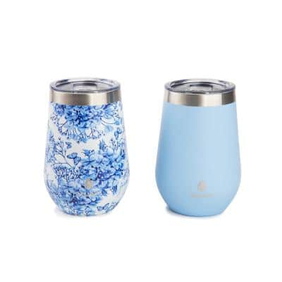 12 oz. Blue Hydrangena Stainless Steel Stemless Wine Tumbler (2-Pack)