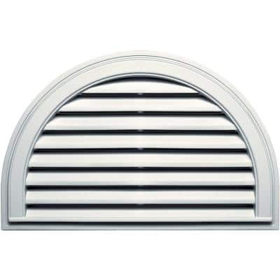 34.1875 in. x 22.128 in. Half Round White Plastic Built-in Screen Gable Louver Vent