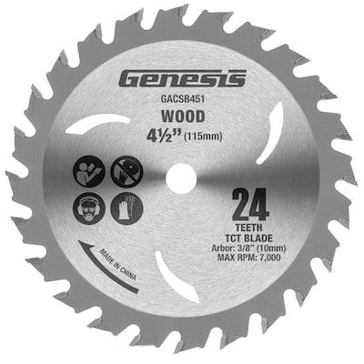 4 1/2 in. 24-Teeth Tungsten Wood-Cutting Carbide-Tipped Circular Saw Blade