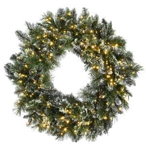 30 in. Glittery Bristle Pine Wreath with 300 Dual Color LED Cosmic Lights