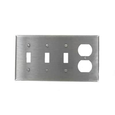 Stainless Steel 1-Gang 3-Toggle/1-Duplex Wall Plate (1-Pack)