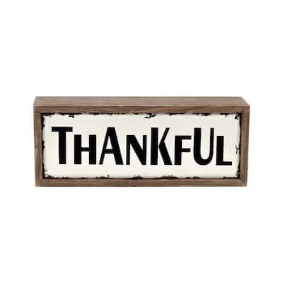 Thankful Rustic Wood Block Sign Farmhouse Tabletop Decor