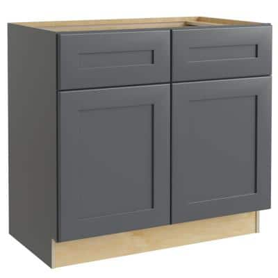 Navarre Onyx Gray Shaker Assembled Plywood 36 x 34.5 x 24 in. Stock Base Kitchen Cabinet 2 Soft Close Drawers and Doors