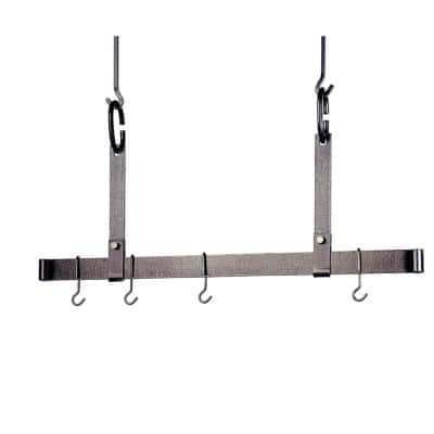 Handcrafted 36 in. Adjustable Ceiling Bar with 6 Hooks Hammered Steel
