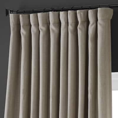 Oatmeal Beige Faux Linen Extra Wide Room Darkening Curtain - 100 in. W X 108 in. L (1 Panel)