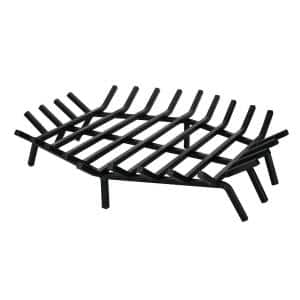 27 in. W x 27 in. D Black Cast Iron Hexagon Shape Bar Fireplace Grate