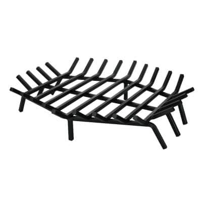 27 in. W x 27 in. D Black Cast Iron Hexagon Shape Bar Fireplace Grate