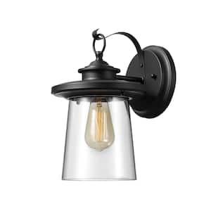 Valmont 1-Light Black Outdoor Wall Lantern Sconce