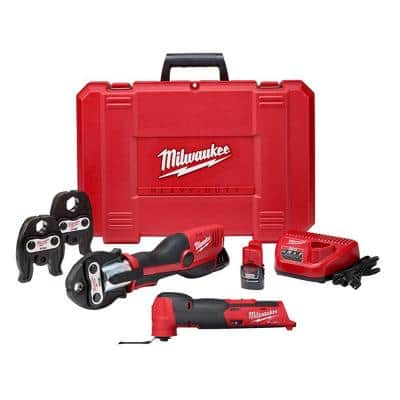 M12 12-Volt Lithium-Ion Force Logic Cordless Press Tool Kit and M12 Fuel Oscillating Multi-Tool (3-Jaws Included)