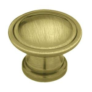 Ridge Design 1-1/8 in. (28mm) Antique Brass Round Cabinet Knob
