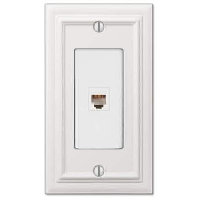 Continental 1 Gang Phone Metal Wall Plate - White