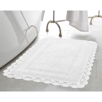 Crochet 100% Cotton 24 in. x 40 in. Bath Rug in White