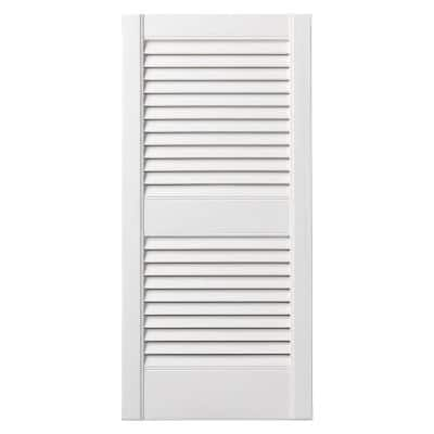 15 in. x 35 in. Open Louvered Polypropylene Shutters Pair in White
