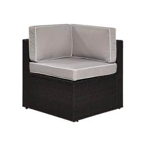 Palm Harbor Brown Wicker Corner Outdoor Sectional Chair with Gray Cushions