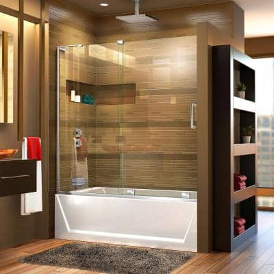 Mirage-X 56 in. to 60 in. x 58 in. Semi-Frameless Sliding Tub Door in Chrome