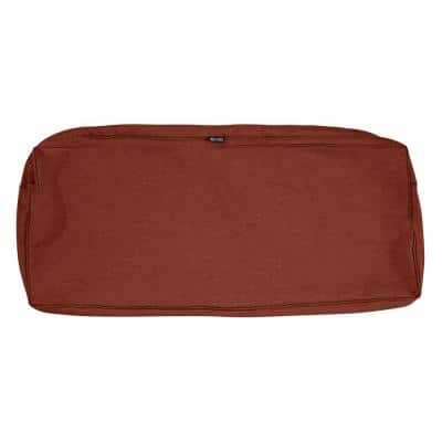 Montlake Fadesafe 48 in. W x 18 in. D x 3 in. H Rectangular Patio Bench/Settee Cushion Slip Cover in Heather Henna Red