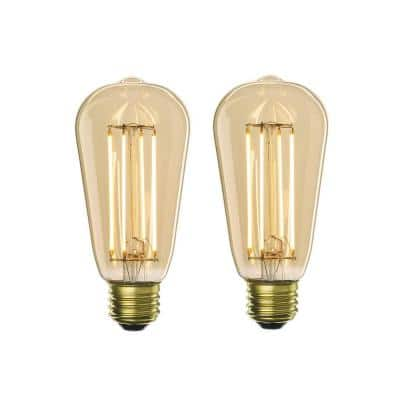 40W Equivalent Amber Light ST18 Dimmable LED Filament Light Bulb (2-Pack)