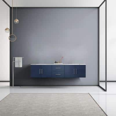Geneva 80 in. W Double Bath Vanity in Navy Blue with Marble Vanity Top in White Carrara with White Square Basins