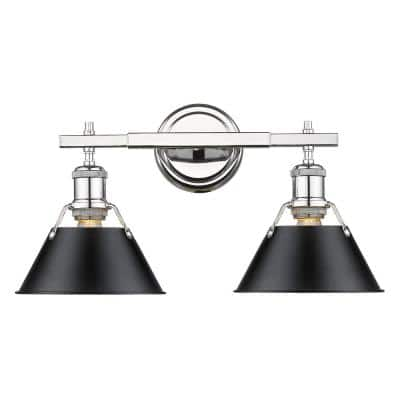 Golden Lighting Orwell 3 Light Chrome With Black Shade Bath Vanity Light 3306 Ba3 Ch Blk The Home Depot
