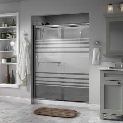Portman 60 in. x 70 in. Semi-Frameless Traditional Sliding Shower Door in Chrome with Transition Glass