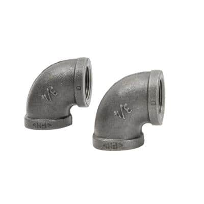 3/4 in. Black Iron 90° Elbow (2-Pack)