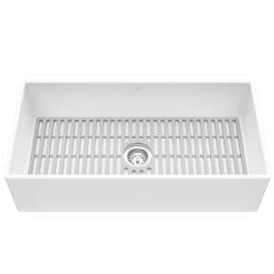 Matte Stone White Composite 36 in. Single Bowl Flat Farmhouse Apron-Front Kitchen Sink with Strainer and Silicone Grid
